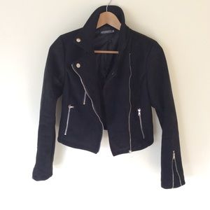 Misspap black faux suede motojacket S