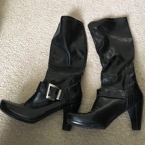 Franco Sarto black heeled boots size 9