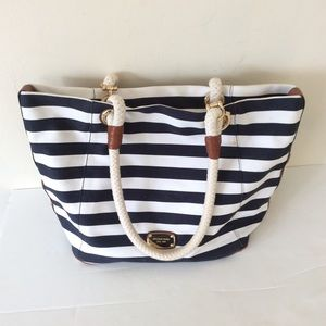 Michael Kors stripe blue beach bag