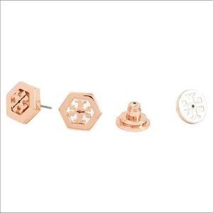 f5cd18fc3461 Tory Burch Jewelry - Tory Burch Gold Rose Gold Hexagon Earrings SALE