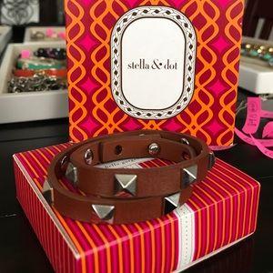 Stella & Dot brown leather wrap bracelet