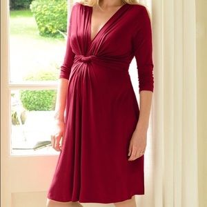 Seraphine Dresses & Skirts - SERAPHINE Claret Red Knot Front Maternity Dress