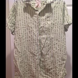 Mens Green Plaid Button Down ReD CaMeL Shirt ~ XL