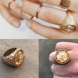 Free People Jewelry - NWOT free people gold hammered ring stone 7