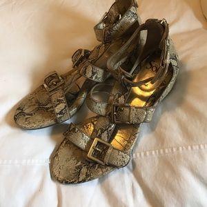 Sofft snakeskin buckle wedge sandals