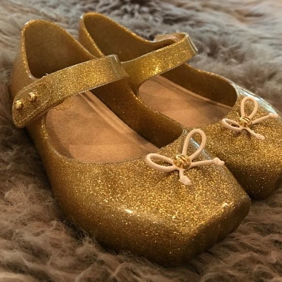 Mini Melissa Gold Glitter Ballet Shoes