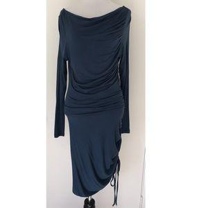 DRAPED COTTON DRESS.
