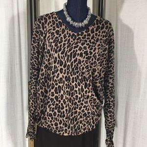 Lane Bryant Sweaters - Lane Bryant Leopard Print V-neck Sweater