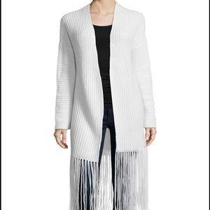 360 Cashmere Sweaters - 360 Cashmere White Fringe Cardigan