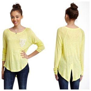 Chloe K Tops - Chloe K Lime Green Cream Crochet Long Sleeve Shirt