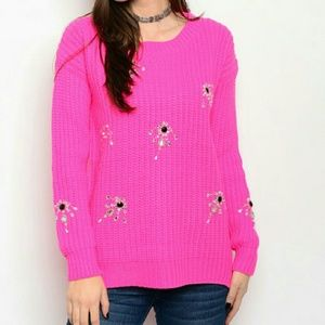 Sweaters - Hot pink oversized sweater