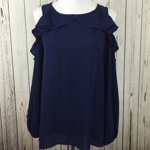 Love Riche Tops - 🆕 Navy Blue Cold Shoulder Ruffle Blouse