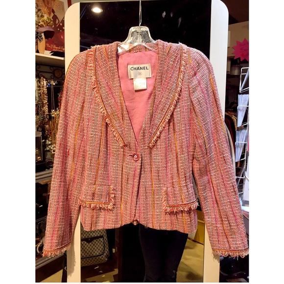 chanel jacket. chanel pink fantasy tweed jacket