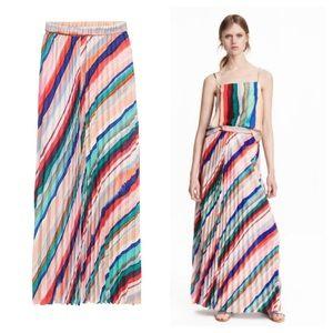 H&M Multi-Striped Pleated Chiffon Maxi Skirt