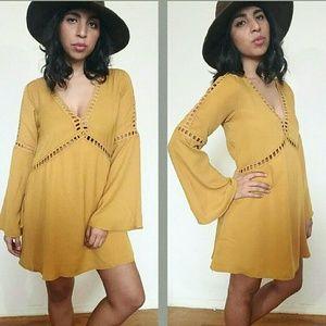 Dresses & Skirts - 🆕MUSTARD CROCHET TRIM TUNIC DRESS