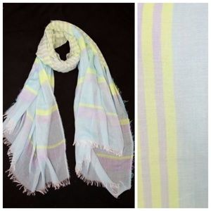 Accessories - Yellow Blue Mint Gray Raw Edge Stripe Scarf B62