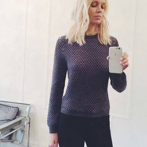 Opening Ceremony Sweaters - Opening ceremony gray and purple waffle sweater