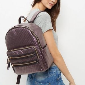 New Look Handbags - Purple metallic quilted back pack