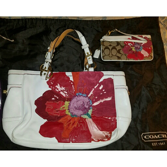 6bac509d652d Coach 9244 white leather poppy Gallery tote