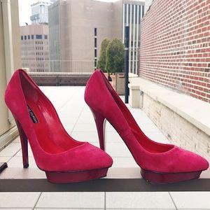 Charles Jourdan Shoes - CHARLES JOURDAN Red Suede Pumps