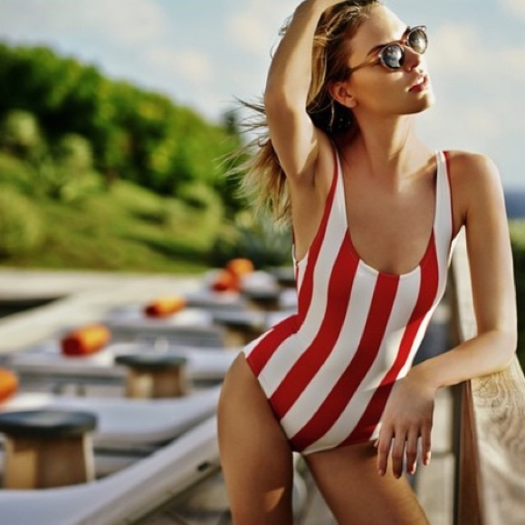 27f157caab NWT Red   White Striped One Piece Swimsuit