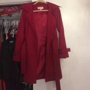 Cranberry red Michael Kors trench coat