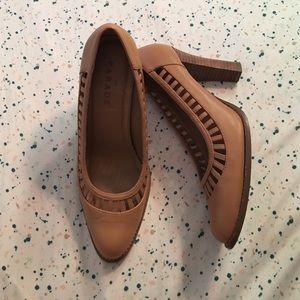 Tan cut out heels