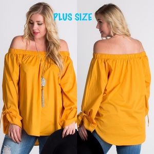 Tops - Cold Shoulder Long Sleeve Top- MUSTARD