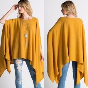 Tops - ❤HP❤Ribbed Tunic Poncho- MUSTARD