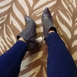 Tildon Shoes - Tildon Grey Leather Boogie Ombre-like Heel