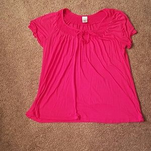 Just My Size Tops - Pink tee with decorative neckline