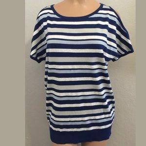 DKNY Tops - DKNY small top open shoulder blue/silver/ stripe
