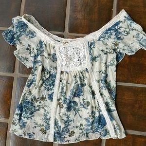 Denim & Supply Ralph Lauren Tops - Denim & Supply Ralph Lauren Floral Lacy Shirt M