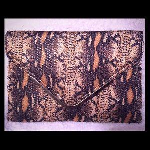 BCBGeneration Envelope Sequined Snakeskin Clutch