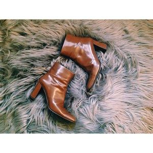 Acne Shoes - Italian Leather Square-Toe Ankle Boots