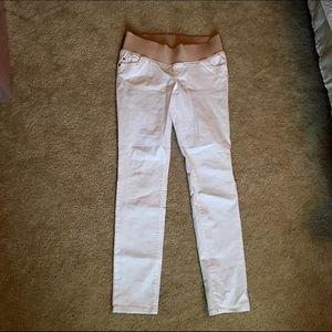 White skinny maternity pants