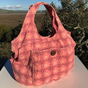 Pink Purple White Floral Canvas Tote