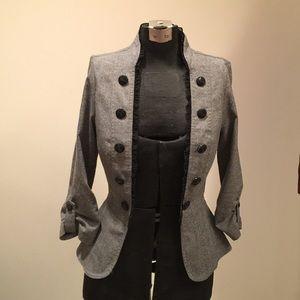 Jackets & Blazers - Adorable Gray Tweed Military Style Blazer