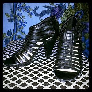 Studio Paolo Shoes - Black Leather Cage Pumps