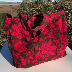 Brown and Fuchsia Pink Floral Canvas Tote Bag