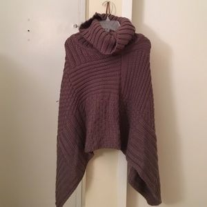 2 Chic Sweaters - Turtle neck poncho sweater