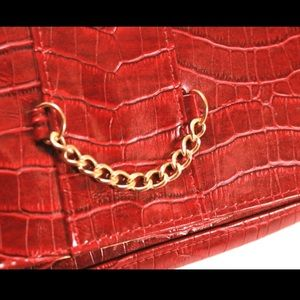 Handbags - Red Croc Embossed Clutch