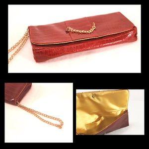 Handbags - Red Croc Embossed Clutch