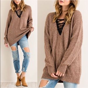 1 HR SALETAMARA criss cross sweater top -MOCHA