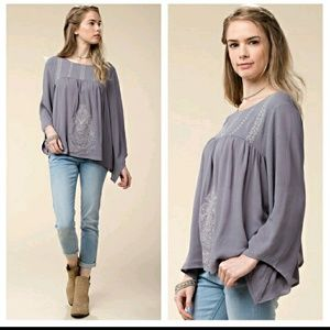 October Love Tops - Embroidered Tunic top.