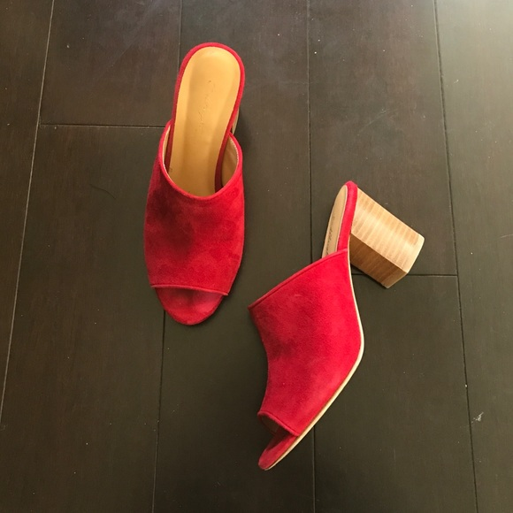 343ca7e097e92 Anthropologie Shoes - Anthropologie Miss Albright Red Suede Mules