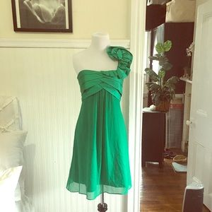 Max and Cleo emerald one-shoulder dress, size 4.
