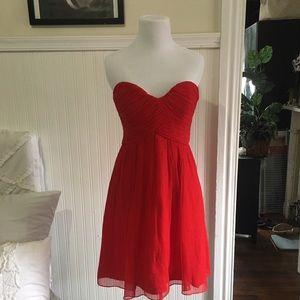 Donna Morgan Red Strapless silk chiffon dress, 4P
