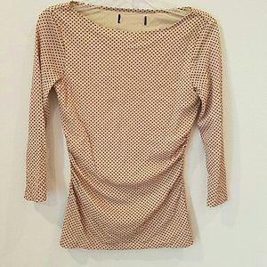 Boat neck blouse, tan with black polka-dots