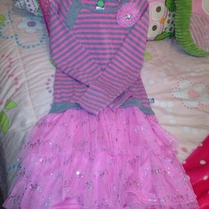 Dollie & Me Other - Dollie & Me Pink & Gray Dress with Pink Tutu